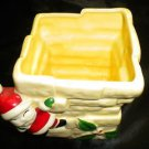 Adorable Ceramic Santa Claus Christmas Chimney Square Candy Bowl / Pot Planter