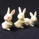Set of 3 Miniature Easter Bunny Rabbit Figures Plastic Spring Holiday Figurines