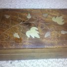 Handmade Carved Wooden Trinket Jewelry Box with Golden Leaf Design From India