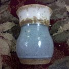 "Nice Vintage Blue & White Textured Glazed Art Pottery Vase, Measures 5"" Tall"