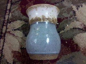 "Nice Vintage Blue & White Textured Glazed Art Pottery Vase, Measures 5"" Tall"
