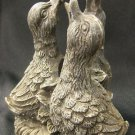 "Decorative Duck Chick 3 Nesting Birds Resin Sculpture / Candle Holder, 4"" Tall"