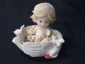 Little Blond Baby Boy White Ducks Miniature Resin Figurine EC BBY ON SWAN Easter