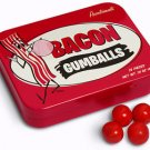 BACON GUMBALLS Pork Flavored Chewing Gum Balls Novelty Candy Tin (22 Pieces) NEW