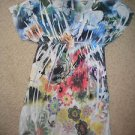 Mi Manchi dress bright colors flowers no size 14W 34L pnk blu black tunic vneck