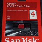 4 GB Sandisk Cruzer USB 2.0 Flash Drive Capless Memory Stick NEW Free Shipping