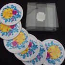 Set of 6 Stein Mart Plastic Beverage Coasters, Tropical Ocean Scene Sand Dollar