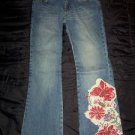 Thalia Sodi Women's Embellished Floral Print Blue Jeans Pants, Regular Size 3/4