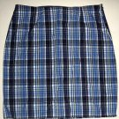 SO Brand Blue & White Plaid Mini Pencil Skirt Cotton, Women's Juniors Size 7 EUC