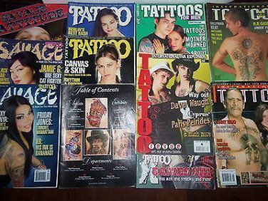 11 Vintage & Newer Tattoo Art Magazines, Savage, International 94-09 Back Issues