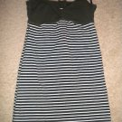 Iris Basic olive green bust w white stripes top Large NWOT peephole back :)