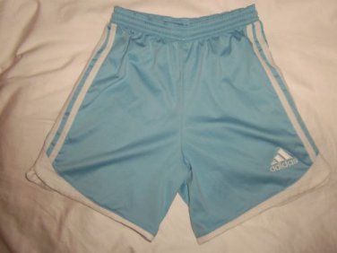 Adidas Clima365 Polyester 3 Stripes Blue & White Athletic Sports Shorts, Girls L