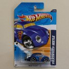 Hot Wheels 2012 Heat Fleet Volkswagen Beetle (blue) (plastic tail pipe variation)