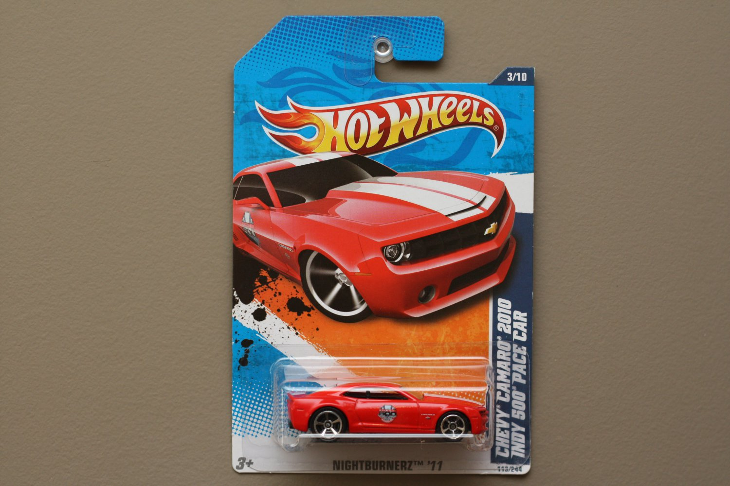 Hot Wheels 2011 Nightburnerz Chevy Camaro 2010 Indy 500 Pace Car (red)