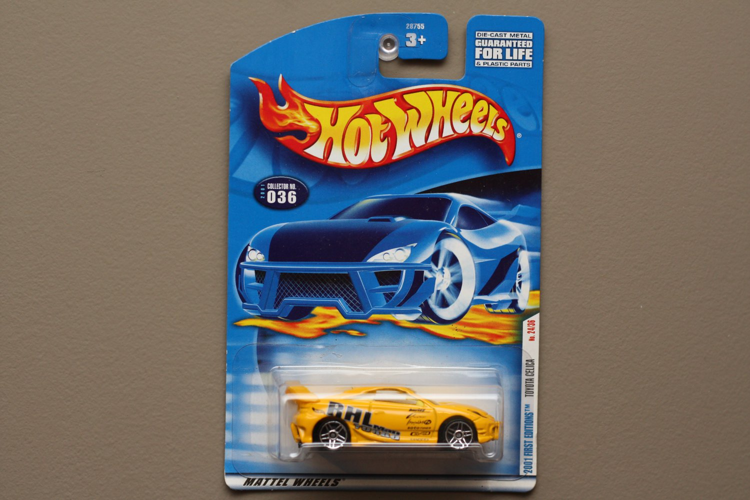 Hot Wheels 2001 First Editions Toyota Celica (yellow) (SEE CONDITION)