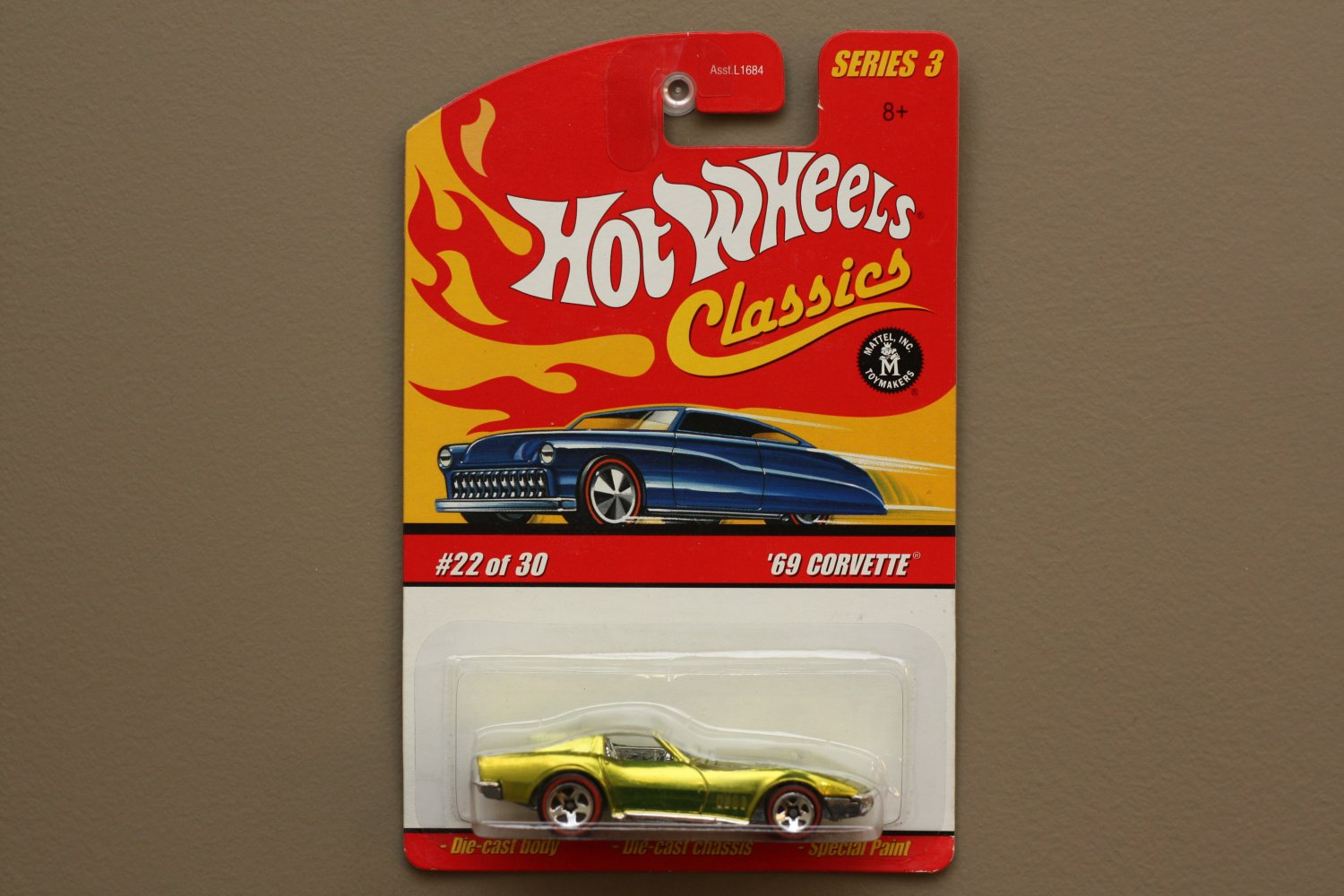 Hot Wheels 2007 Classics Series 3 '69 Corvette (chrome lime green)