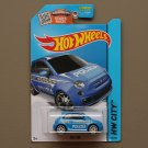 Hot Wheels 2015 HW City Fiat 500 (blue)
