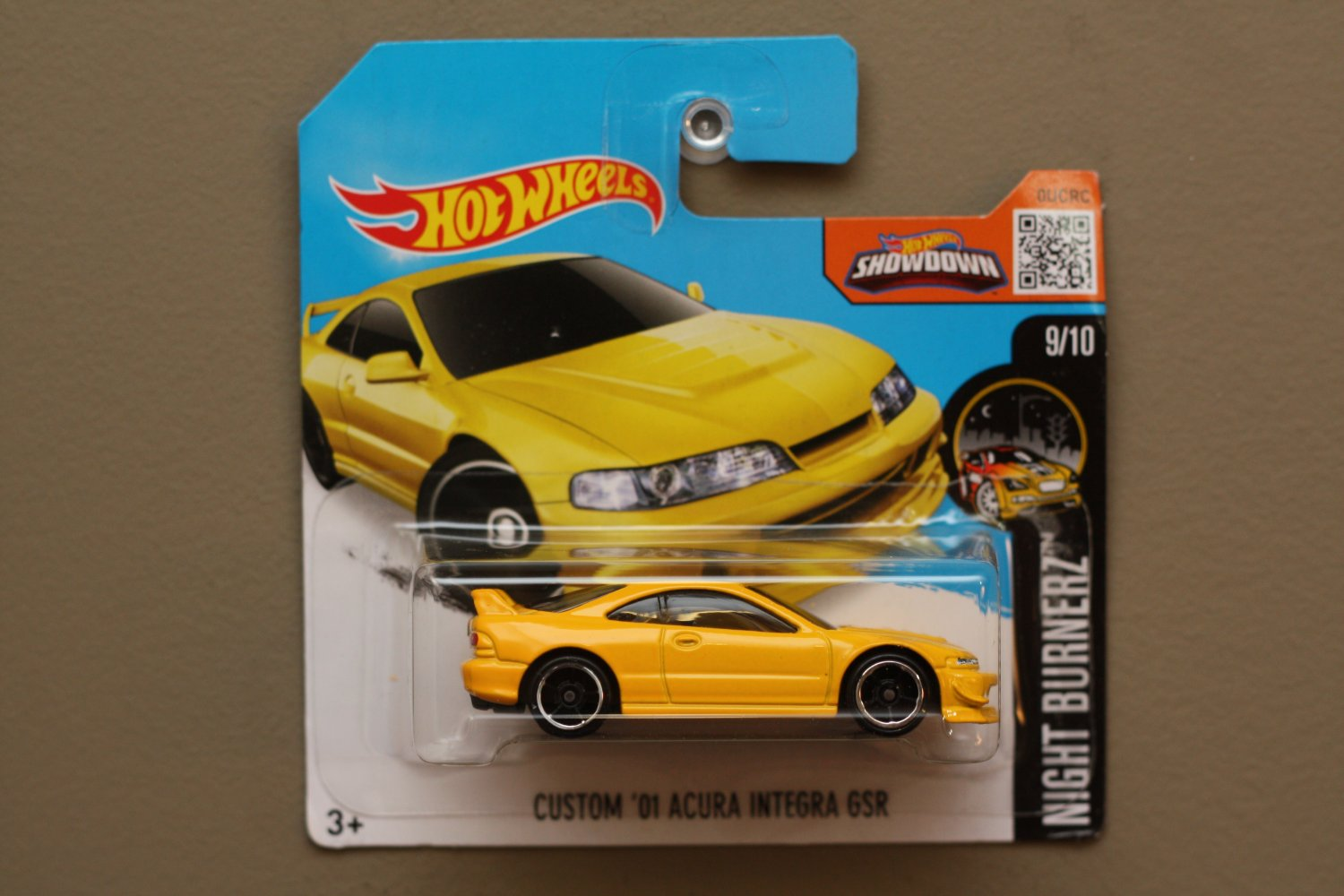 Hot Wheels 2016 Nightburnerz Custom '01 Acura Integra GSR (yellow) (SEE CONDITION)