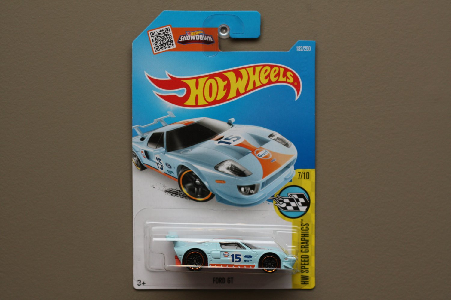 Hot Wheels 2016 HW Speed Graphics Ford GT (gulf blue) (SEE CONDITION)