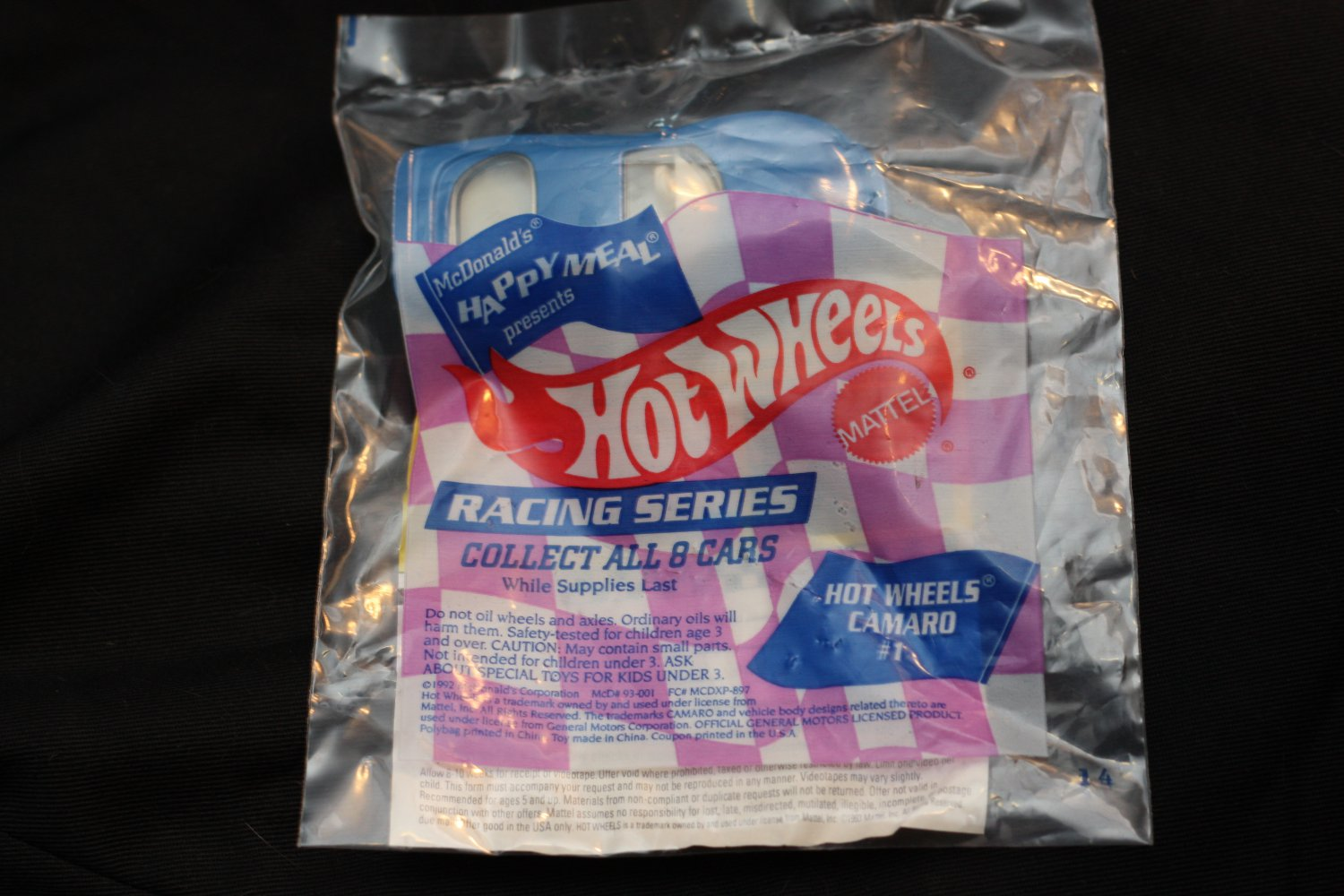 Hot Wheels 1993 McDonald's Happy Meal Series Hot Wheels Camaro #1 (blue/white)