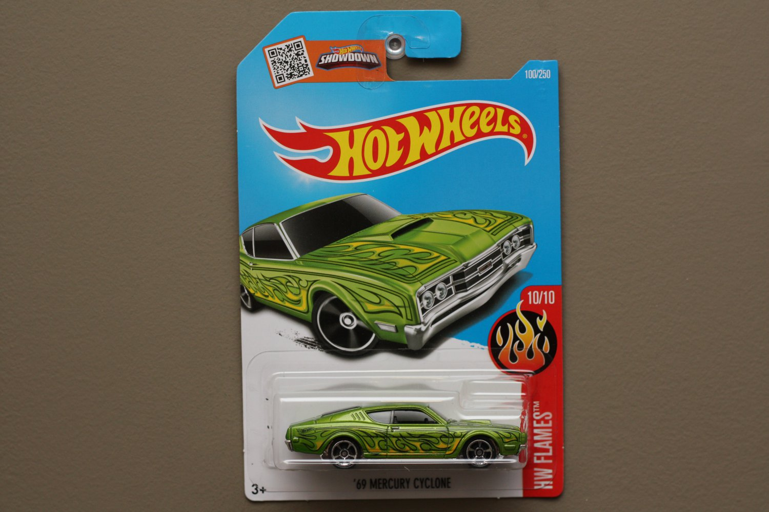 Hot Wheels 2016 HW Flames '69 Mercury Cyclone (green)