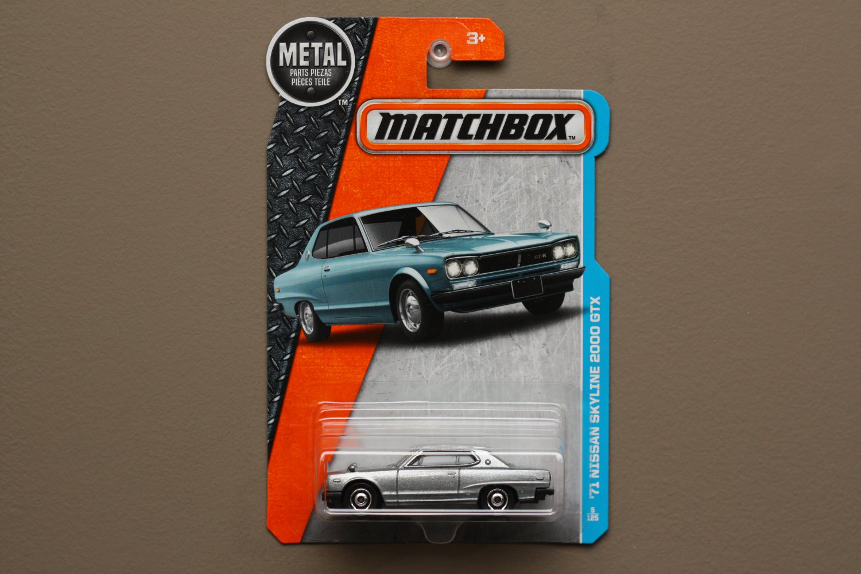 Matchbox 2016 MBX Adventure City '71 Nissan Skyline 2000 GTX (silver) (dark card variation)