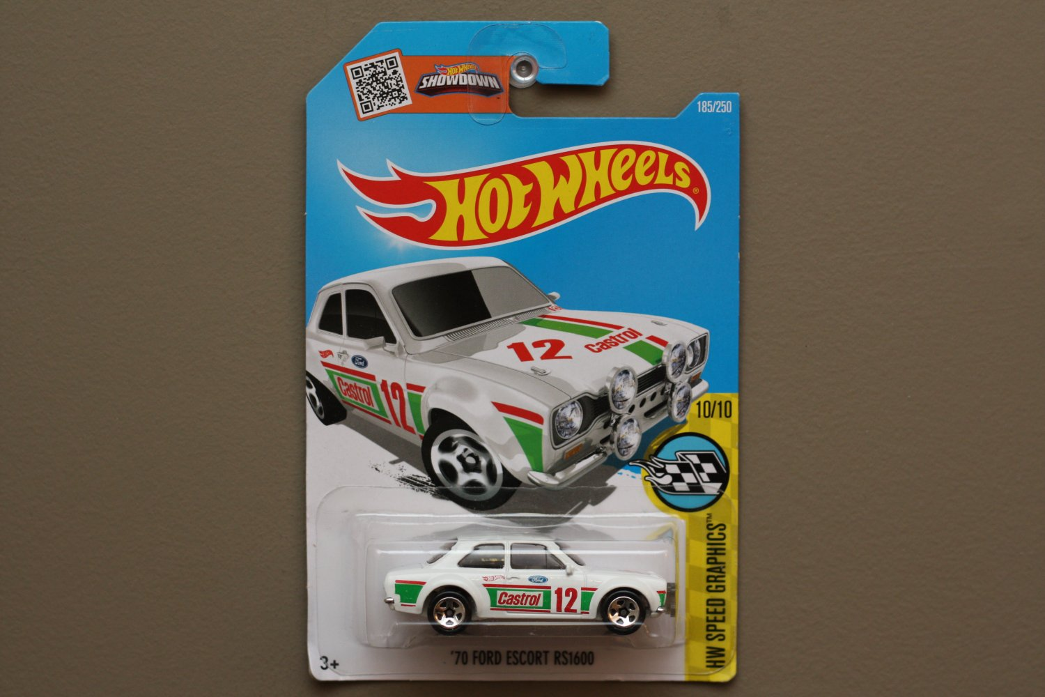 Hot Wheels 2016 HW Speed Graphics '70 Ford Escort RS1600 (white) (SEE CONDITION)
