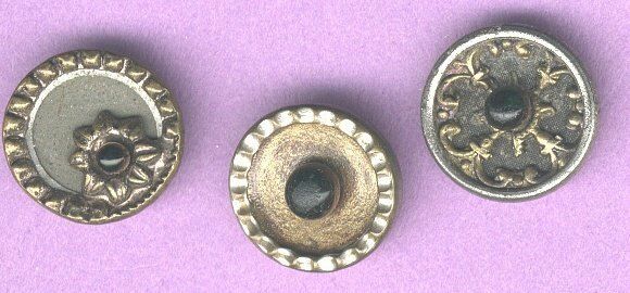 Antique brass with glass pigeon eye buttons