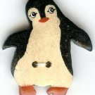 Penguin realistic wood button modern button