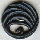 Swan button openwork black plastic Art Nouveau like button vintage