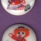 Raggedy Ann and Andy  buttons..vintage buttons