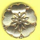 Black glass flower head button gold lustered vintage