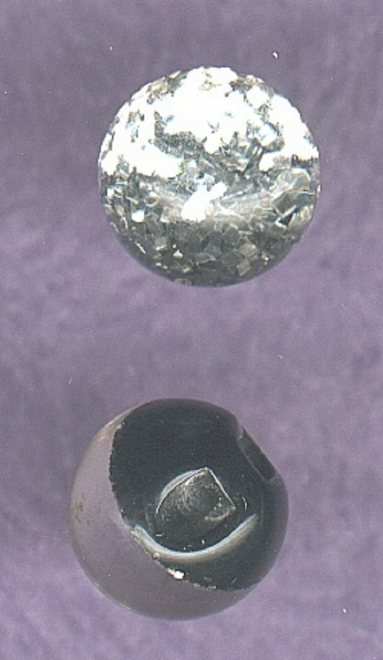 2 ball shaped paperweight type buttons vintage plastic