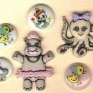 Animals with human attire items buttons