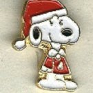 Santa snoopy SMALL button, handpainted enameled  brass..peanuts cartoon character  BUTTON