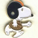 Snoopy with football button, handpainted enameled brass..peanuts cartoon character  BUTTON