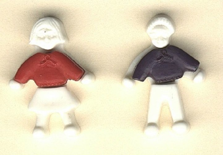 Realistic boy and girl plastic snap together buttons