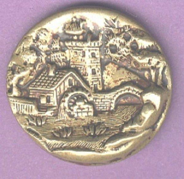 Castle bridge watermill scene antique button