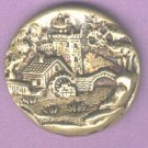 Castle bridge watermill scene antique button