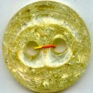 Crackle button transparent yellow color PLASTIC vintage button