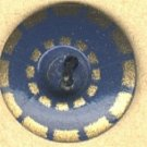 Aluminum stencil button blue with gold vintage button