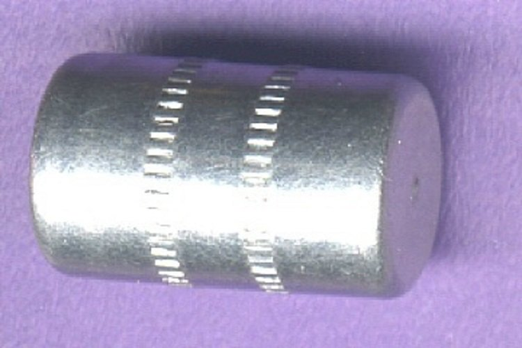 Aluminum cylindrical 1930's button