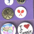 Tennis theme, sewing and a couple  pinback types..BUTTONS
