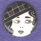 Modern garter flapper head button laser cut plastic black white