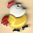 Rooster button..realistic modern plastic snap-together, white, yellow and red button