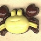 Crab button..realistic modern snap-together, brown and yellow plastic button