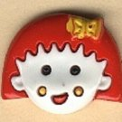 Girl head button..realistic modern snap-together, white and red plastic button