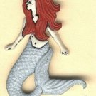 Mermaid button..realistic modern snap-together, white, red and gray with glitter plastic button