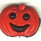 Pumpkin face button..realistic modern snap-together, black and red  plastic button
