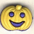 Pumpkin face button..realistic modern snap-together, blue and yellow  plastic button